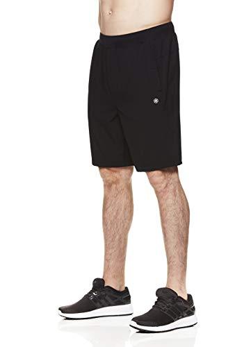 Gaiam Men's Yoga Shorts - Performance Heather Gym & Workout Short w/Pockets - Posture Wovem Black, Small