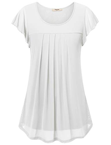 (Timeson Business Women Blouses,Womens Work Tops and Blouses, Business Casual Clothes for Women White Shirt Womens Tops for Leggings Short Sleeve Womens Career Tops and Blouses White Medium)