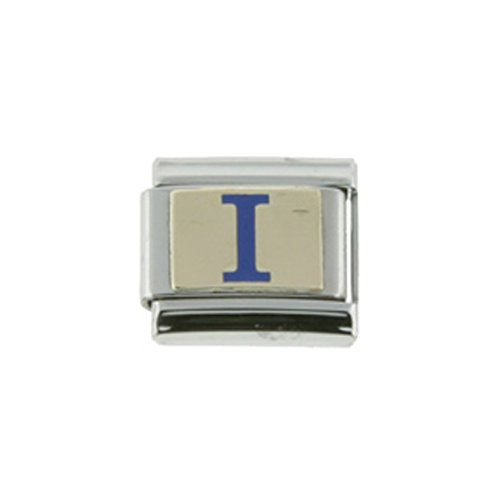 Stainless Steel 18k Gold Initial Charm I Blue Enamel for Italian Charm Bracelets (Italian Charms I Initials compare prices)