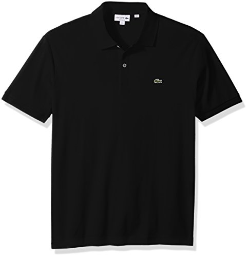 Lacoste Men's Short Sleeve Pima Jersey Interlock Regular Fit Polo, Black, Large