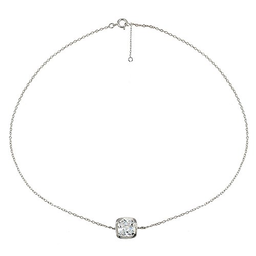 Sterling Silver Cubic Zirconia Cushion-cut Bezel-Set Thin Delicate Chain Anklet