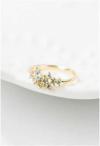 6 Women Girl 925 Ring Engagement Silver Crystal 14k Solid Gold Simple Fashion Gift