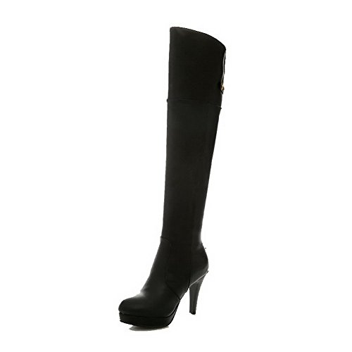 WeiPoot Womens Pu Zipper Solid High-Heels High-Top Round Closed Toe Boots, Black-Rivet, 36 (Coupons For Party City 2016)