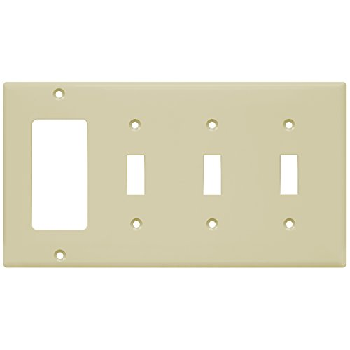 ENERLITES Combination Toggle Light Switch/Decorator Switch Wall Plate, Size 4-Gang 4.50
