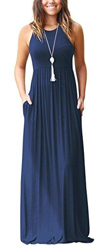 Euovmy Women's Sleeveless Long Maxi Dresses Pocket Casual Loose T-Shirt Dresses Navy ()