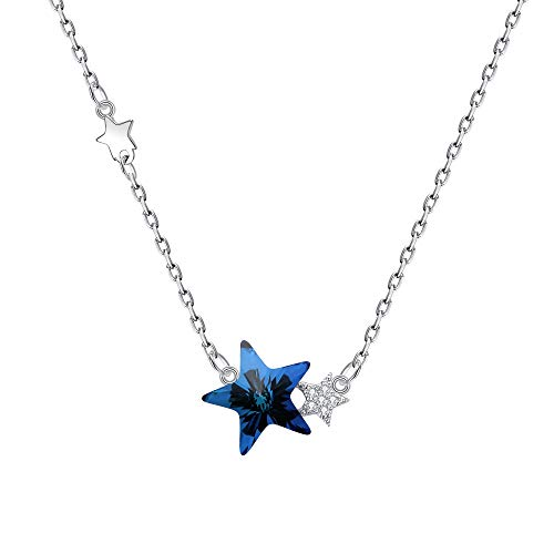 Blue Star Necklace - BriLove Women 925 Sterling Silver Twinkle Little Star Pendant Necklace Adorned with Swarovski Crystals Bermuda Blue