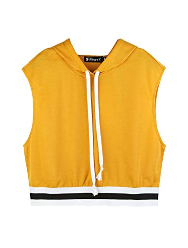 Allegra K Women's Summer Sleeveless Hooded Crop Tank Top T-Shirt XS Yellow ()