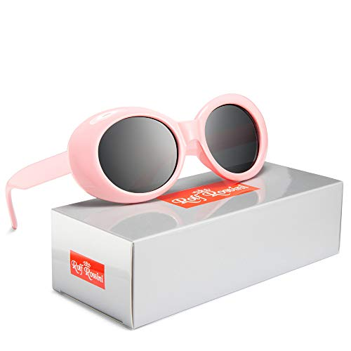 Clout Goggles Women Oval Sunglasses Kurt Cobain Sun Glasses Round Retro Shades for Men UV400 Protective Candy Color (Pink/Gray)