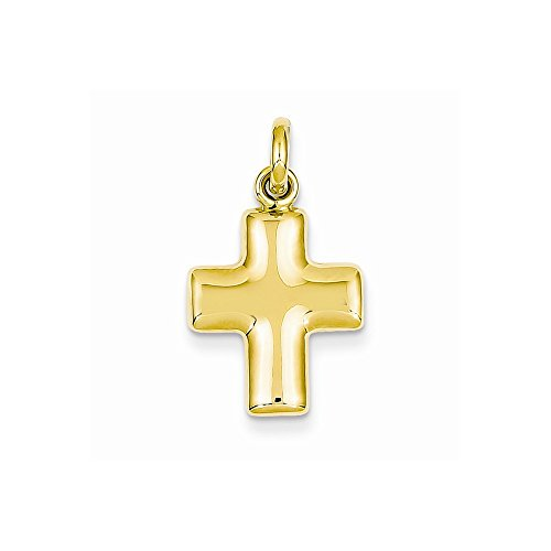 14k Yellow Gold Puffed Cross Charm ()