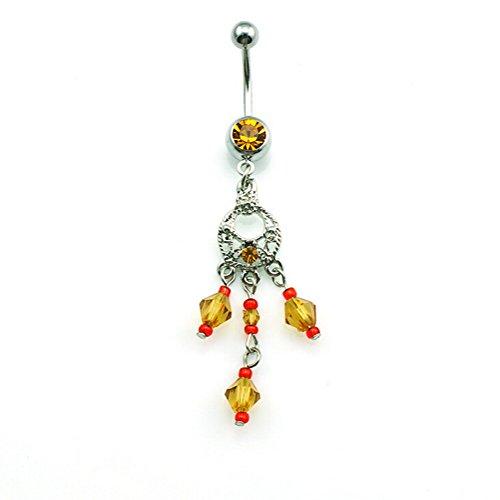 Diseño con borlas, hyidealism amarillo Beads Dangle Ombligo Ombligo Barbell Anillo Body Piercing perforadas joyas