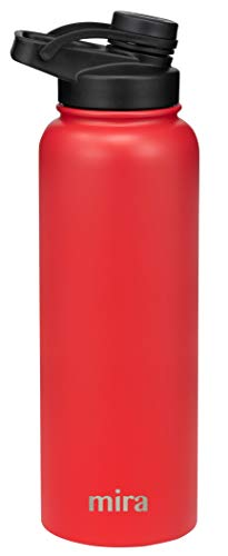 MIRA 40 oz Stainless Steel Insulated Sports Water Bottle | Metal Thermos Flask Keeps Cold for 24 Hours, Hot for 12 Hours | BPA-Free Spout Lid Cap | Red