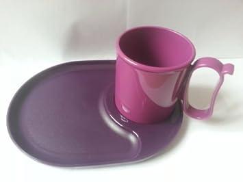 Tupperware snackatizer/plato/bandeja + morado claro taza (1 placa + 1 taza