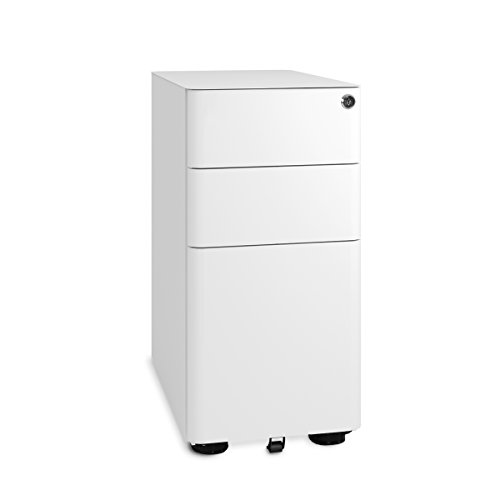 DEVAISE 3-Drawer Mobile File Cabinet with Lock in White, Fully Assembled Except Casters, Legal/Letter Size