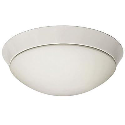 "Flush Mount Lighting Opal Glass - Ceiling Light Fixture, White Finish Steel, 12"" inch Wide, 2700K, 26W lamp included"