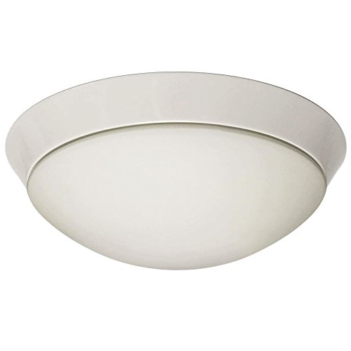 Flush Mount Lighting Opal Glass - Ceiling Light Fixture, White Finish Steel, 12' inch Wide, 2700K, 26W lamp included