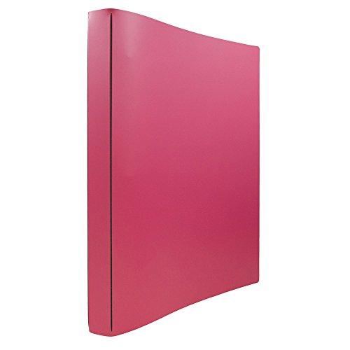 JAM PAPER Italian Leather 0.75 inch Binder - Fuchsia Pink 3 Ring Binder - Sold Individually