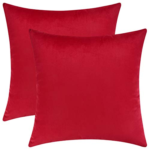 (Mixhug Set of 2 Cozy Velvet Square Decorative Throw Pillow Covers for Couch and Bed, Red, 18 x 18 Inches)
