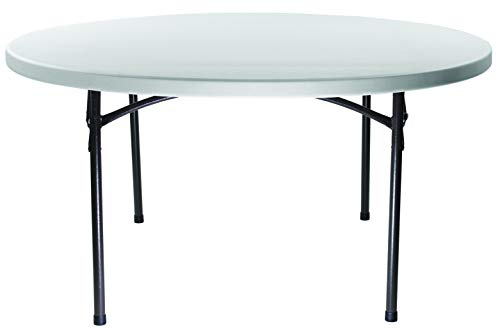 Samsonite 7700 Series 60 Round, Blow Molded Folding Table, Lightweight and Built to Last 49760-2906 , Gray