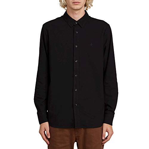 Volcom Men's Oxford Stretch Long Sleeve Button up Shirt, New Black, Small (Oxford Street Outlet)