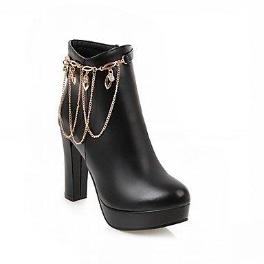 Heart&M Mujer Zapatos Semicuero Primavera Invierno Botas de Moda Botas Tacón Robusto Dedo redondo Botines Hasta el Tobillo Pedrería Para Casual black