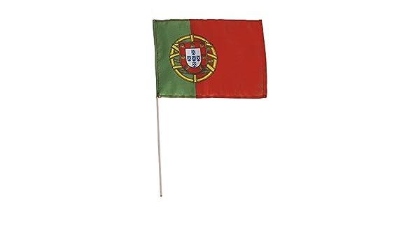 Bastón de bandera de Países - Portugal - Talla aprox. 40 x 30 cm - 77133 - Bandera con madera Stock Decoración de giro: Amazon.es: Jardín
