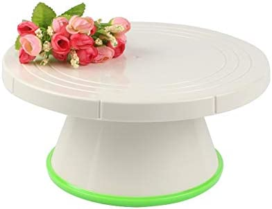 ケーキターンテーブル、ケーキスタンドを回転させ、ベーキングツールDIYケーキターンテーブルプラスチック製のケーキプレート回転テーブルは、ケーキを飾るキッチンツールの周りにベースターンスタンド