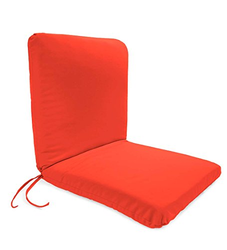 Plow & Hearth Classic Polyester Outdoor Chair Cushion with Ties, Seat 19'' x 17'' x 2.5''; Back 19'' x 19'' x 2.5'' - Coral