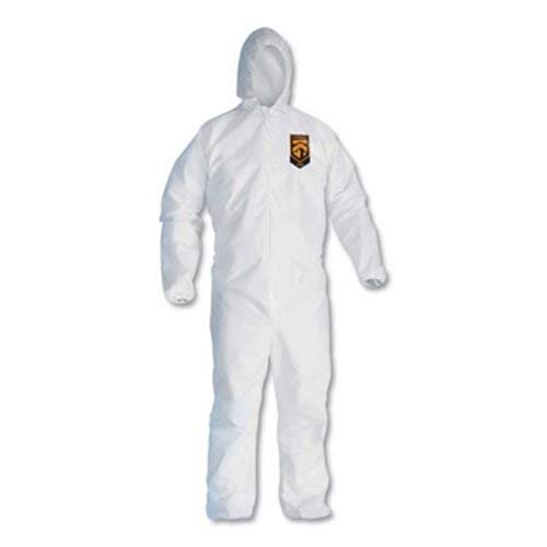Kleenguard A30 Breathable Splash and Particle Protection Coveralls (46115), REFLEX Design, Hood, Zip Front, Elastic Wrists & Ankles (EWA), White, 2XL, 25 / Case