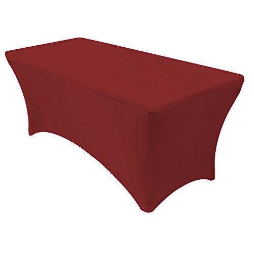 Your Chair Covers - Spandex 6 Ft Rectangular Stretch Tablecloth - Burgundy