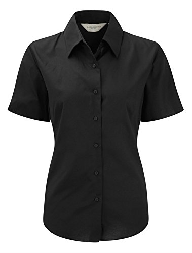 Russell Collection Ladies Short Sleeve Easy Care Oxford Shirt 4XL Black