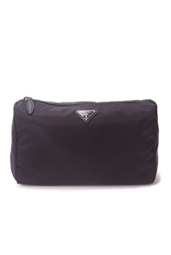 Prada Large Unisex Toiletry and Cosmetics Travel Zippered Pouch Case Bag in Tessuto Nylon and Saffiano Leather (Bag Nylon Prada)