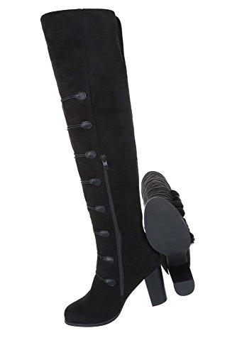 Damen Stiefel ausgefallen | Overknees Leder-Optik | Langschaftstiefel Boots | Reiterstiefel | Langschaft Stiefel | Overknee Stiefel Flach | Club Stiefel | Party Gogo Boots | Schuhcity24 Schwarz 5