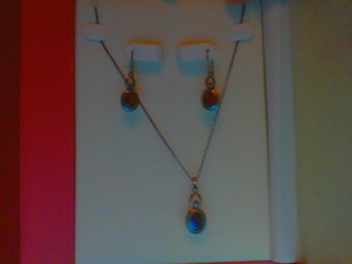 Coldwater Creek Sterling Silver Genuine Garnet Stone Set (Necklace and Earrings)