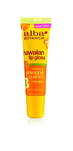 Cream Hawaiian Coconut Lip Gloss - Alba Botanica Hawaiian, Pineapple Quench Tinted Lip Gloss, 0.42 Ounce