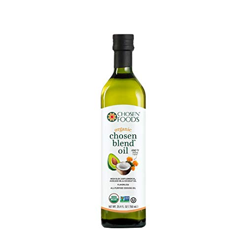 - Chosen Foods Organic Chosen Blend Oil 25.4 oz., Non-GMO, High-Heat Frying, Baking, Cooking, 490° F Smoke Point