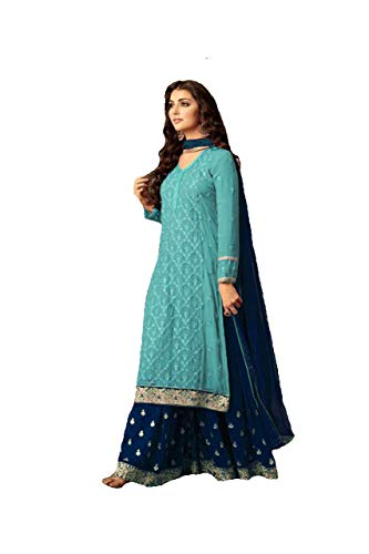ziya Indian/Pakistani Ethnic wear Georgette Plaazo Salwar Kameez (Sky Blue, XXL-46)