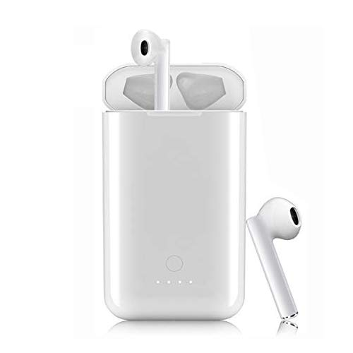 True Wireless Earbuds White,Bluetooth Earbuds Wireless Headphones with 5000mAh Charging Case Auto Pairing Wireless Headphones with Microphone Bluetooth 5.0 Wireless Earphones Noise Cancelling Headset