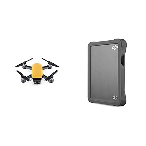 DJI CP.PT.000900 Spark Palm launch, Intelligent Fly More Combo, Sunrise Yellow with Seagate DJI Fly Drive for Drone Footage - Portable Drive with Micro SD Card Slot Bundle