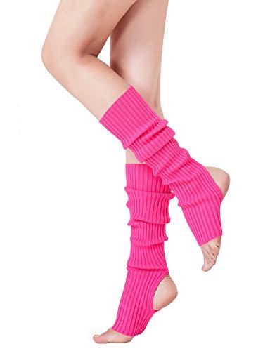 V28 Women's Neon Knit Leg Warmer for 80s Party Dance Sports Yoga (48-rose)