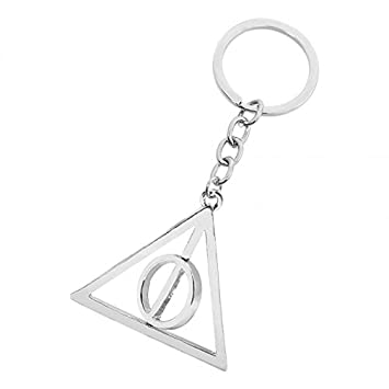 Aai Harry Potter Deathly Hallows Logo Metal Key Ring Chain Keychain (Silver)
