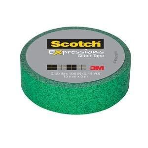 (3M 514-GRN Scotch Expressions Glitter Tape C514-GRN2.59 in x 196 in (15 mm x 5 m) Dark Green Glitter)