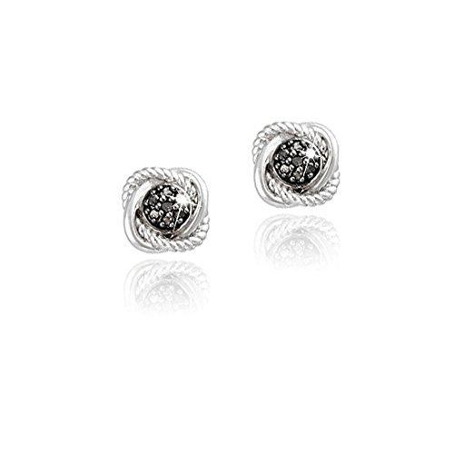 Sterling Silver Black Simulated Diamond Love Knot Stud Earrings