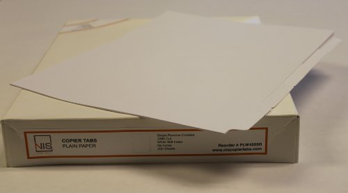 Tabs Collated Plain Copier - 1/5 Cut Plain Paper Copier Tabs - Reverse Collated - #90 White Index - Unpunched - 50 sets/box