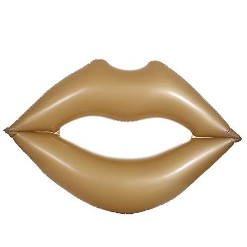 (ETSP Inflatable Glitter Ring Inner 2Pcs Metallic Swim Ring Heart Pool Float,Inflatable Glitter Swimming Ring,Sweet Love Tube Float Lip Swim Ring Lip Pool Floats for Adults (Gold,70x63in) )
