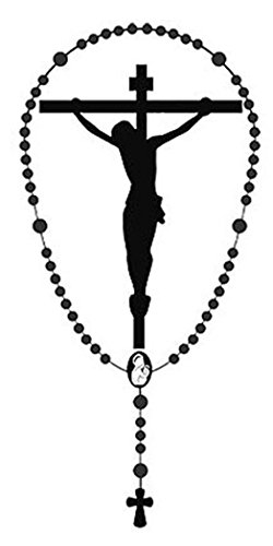 Jesus Christ on Cross Crucifix with Rosary Metallic Auto Decal, 4 3/4 Inch (Rosary Car Decal compare prices)