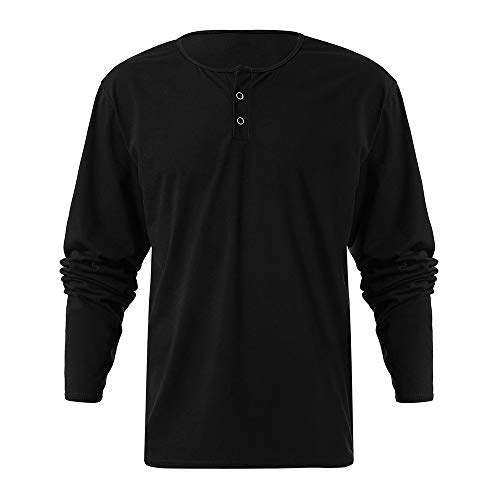 ANJUNIE Mens Casual Design Buttons Slim Fit Long Sleeve Shirt Classics Midweight Waffle Thermal Henley Top(Black,L)