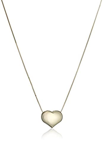 14k Yellow Gold Italian Box Heart Chain Necklace, 16