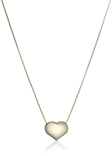 14k Yellow Gold Italian - 14k Yellow Gold Italian Box Heart Chain Necklace, 16