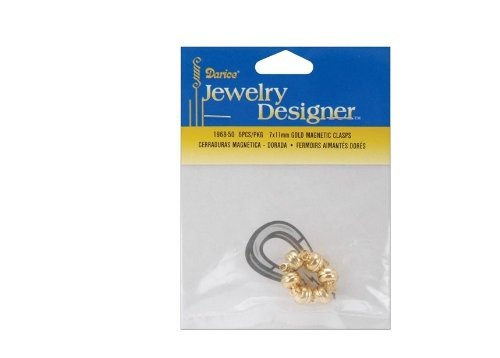 Clasps Darice - Darice 5-Piece Magnetic Clasp, 6 by 11mm Gold