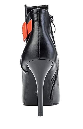 Fille Courte Boucle Tige Orange Décorative Bottines Femme Aisun Noir Mode qwYU0Bp